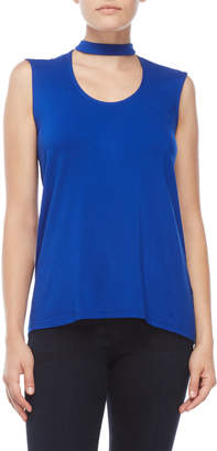 Vince Camuto Petite Blue Sleeveless Choker Neck Top