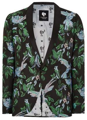 Topman Mens TWISTED TAILOR Black Bird Printed Blazer