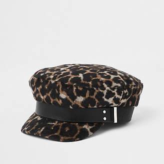 River Island Womens Brown leopard print studded baker boy hat