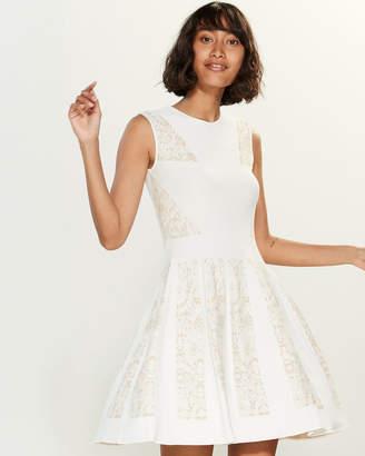 RVN Lace Stripe Jacquard Sleeveless Dress
