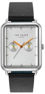 Ted Baker Isaac Multifunction Stainless Steel Leather-Strap Watch