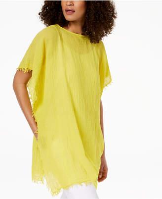Eileen Fisher Organic Cotton Fringe-Trim Poncho