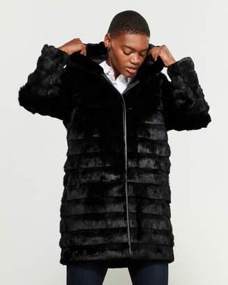 Adrienne Landau Real Fur Hooded Coat