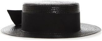 88200870868 Saint Laurent Small Boater Hat In Varnished Straw