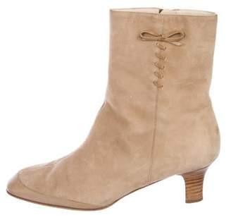 Salvatore Ferragamo Suede Square-Toe Ankle Boots