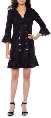 Danny & Nicole 3/4 Bell Sleeve Pinstripe Flounce Hem Sheath Dress
