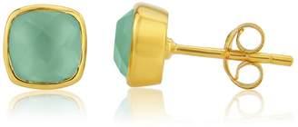 Auree Jewellery - Brooklyn Gold and Aqua Chalcedony Cushion Stud Earrings