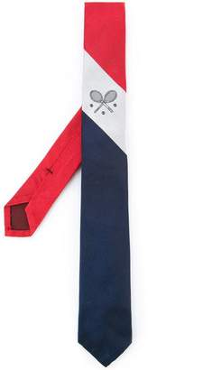 Thom Browne Silk Necktie With Tennis Crest