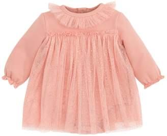 Elegant Baby Sparkle Cotton Dress - Gold, Size 0-6m