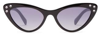Miu Miu Crystal Embellished Acetate Cat Eye Sunglasses - Womens - Black Blue