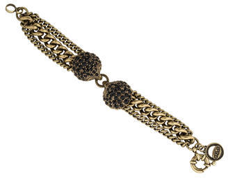 Giles & Brother Antique Brass Black Crystals Shell Bracelet $125 thestylecure.com