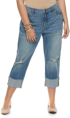 JLO by Jennifer Lopez Plus Size Ripped Boyfriend Jeans
