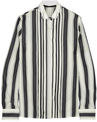 Haider Ackermann - Pleated Striped Silk Shirt - Black $930 thestylecure.com