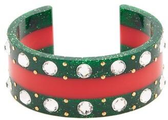 Gucci Web Crystal Embellished Cuff - Womens - Green