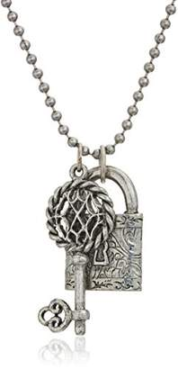 1928 Jewelry Antiqued Pewter Tone Lock and Key Charm Pendant Necklace 22""