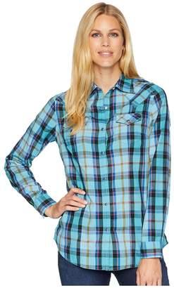 Wrangler Long Sleeve Woven Plaid Snap Women's Long Sleeve Button Up