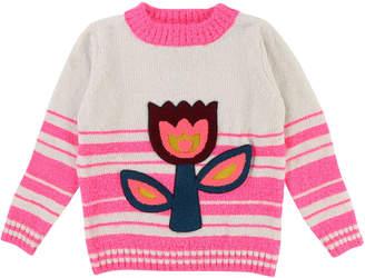 Billieblush Striped Chenille Sweater w/ Tulip Applique, Size 4