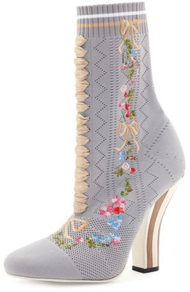 Fendi Embroidered Knit 100mm Bootie, Gray $1,050 thestylecure.com