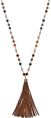 Mudd Long Flower & Leaf Tassel Necklace