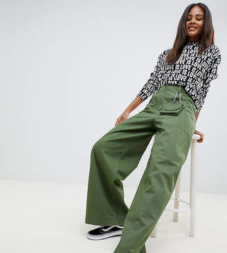 Asos Tall DESIGN Tall wide leg pants with detachable bag in khaki