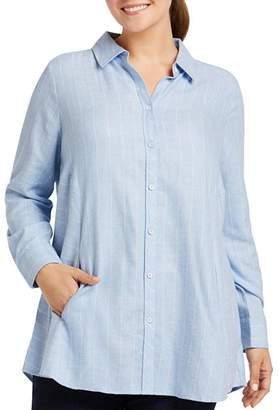 Foxcroft Plus Cecilia Striped Button-Down Tunic