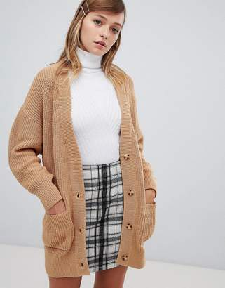 Monki oversized cardigan in camel