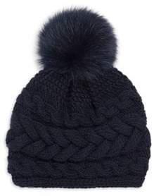 Inverni Beatrice Fox Fur Pom Pom Cable Knit Cashmere Beanie