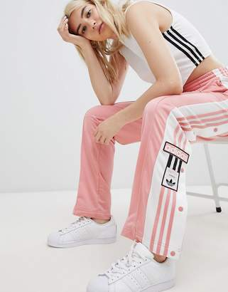 adidas Original Three Stripe Track Pant With Vintage Logo In Pink