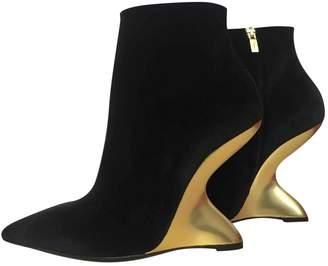 Salvatore Ferragamo Black Velvet Ankle boots