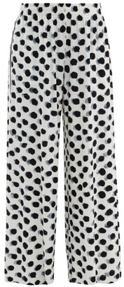 Norma Kamali Polka Dot Print Side Striped Jersey Trousers - Womens - White Black