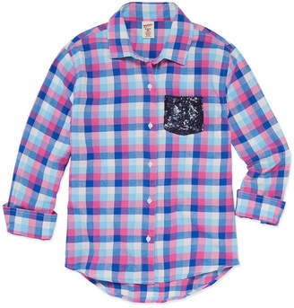 Arizona Long Sleeve Sequin Pocket Flannel Shirt - Girls 7-16 and Plus
