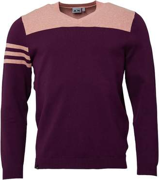 adidas Mens Golf Club 3 Stripes V-Neck Sweater Purple/Peach