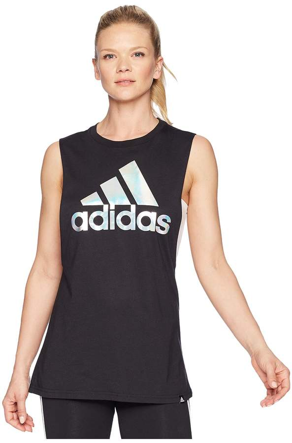 adidas Badge of Sport Clear Foil Muscle Tank Top Women's Sleeveless