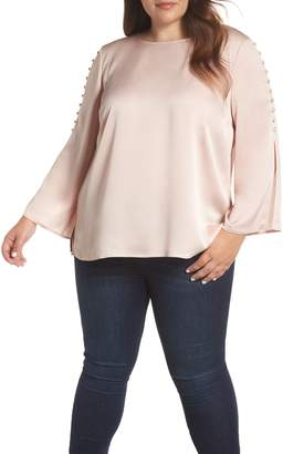 Vince Camuto Button Bell Sleeve Blouse