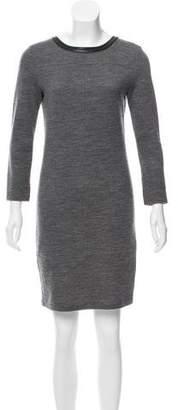 J Brand Leather-Trimmed Wool Dress