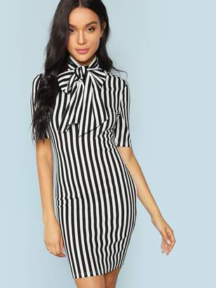 e8a80a7347b Black And White Vertical Striped Dress - ShopStyle