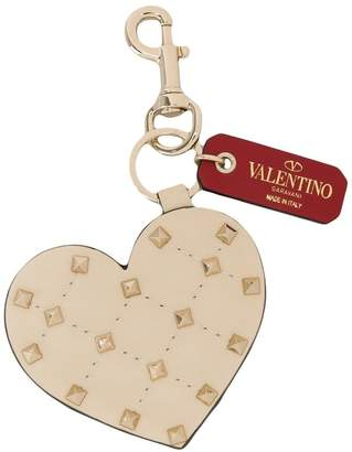 Valentino heart-shaped studded key ring