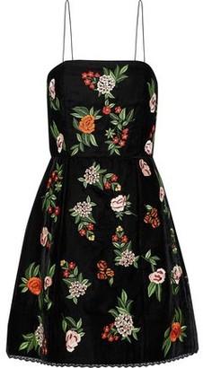 Alice + Olivia Embroidered Velvet Mini Dress