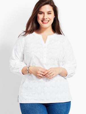 Talbots Eyelet Pintuck Popover-Pineapple Party