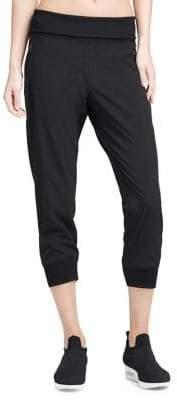 Donna Karan Active Wide-Waistband Zip-Pocket Leggings