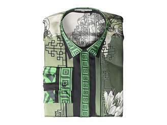 Versace Water Lily Print Silk Button Down