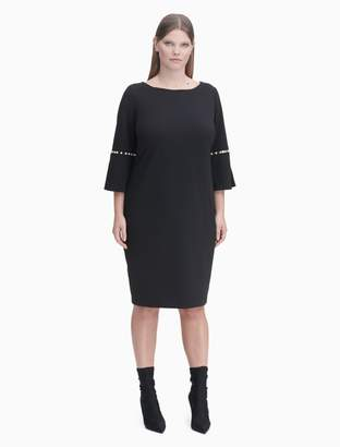 Calvin Klein plus size pearl trim bell sleeve dress