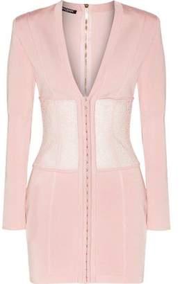 Balmain Lace-Paneled Stretch-Knit Mini Dress