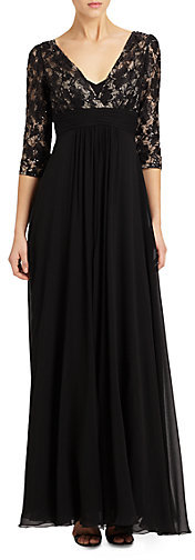 Teri Jon by Rickie Freeman Lace-Top Silk Chiffon Gown