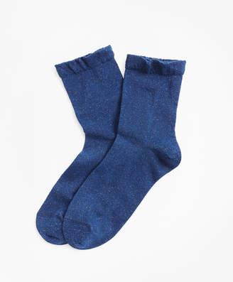 Brooks Brothers Ruffled Shimmer-Knit Socks
