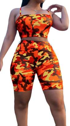 Frieed Women's Cami Tops Camo Floral Tight Shorts Tracksuits Outfits 2PCS Sets M