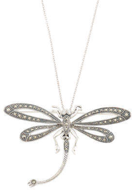 Sterling Silver Marcasite And Cz Dragonfly Brooch Necklace