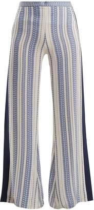 ZEUS + DIONE Alcyone geometric-jacquard silk-blend trousers