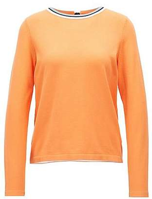 HUGO BOSS Cotton-blend sweater with striped crew neck