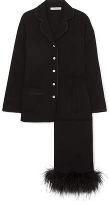 Sleeper - Feather-trimmed Cotton Pajama Set - Black